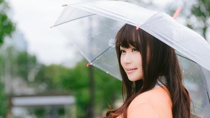雨の中、傘をかぶる女性の画像