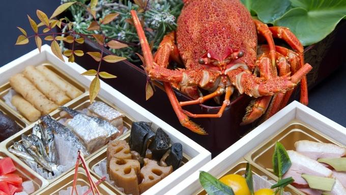 伊勢海老とおせち料理(重箱)の画像