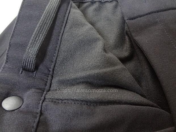 ユニクロの暖パンウォームイージーパンツの裏起毛素材の画像