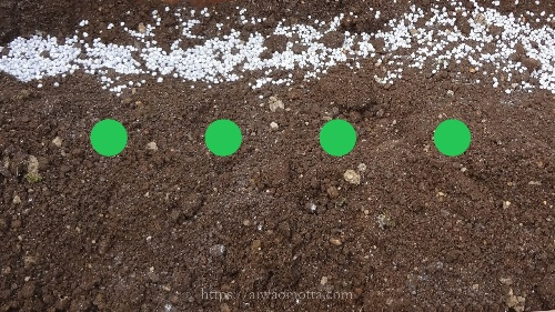 土に化成肥料と油粕をまいた画像