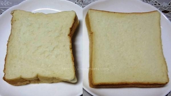 乃が美の生食パンと一本堂の生クリーム食パンを比較した画像