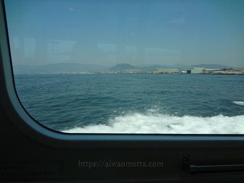 ひろしま世界遺産航路の高速船から外の景色の画像
