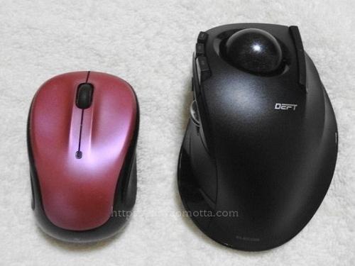 ロジクールのマウスとエレコムのトラックボールの比較画像